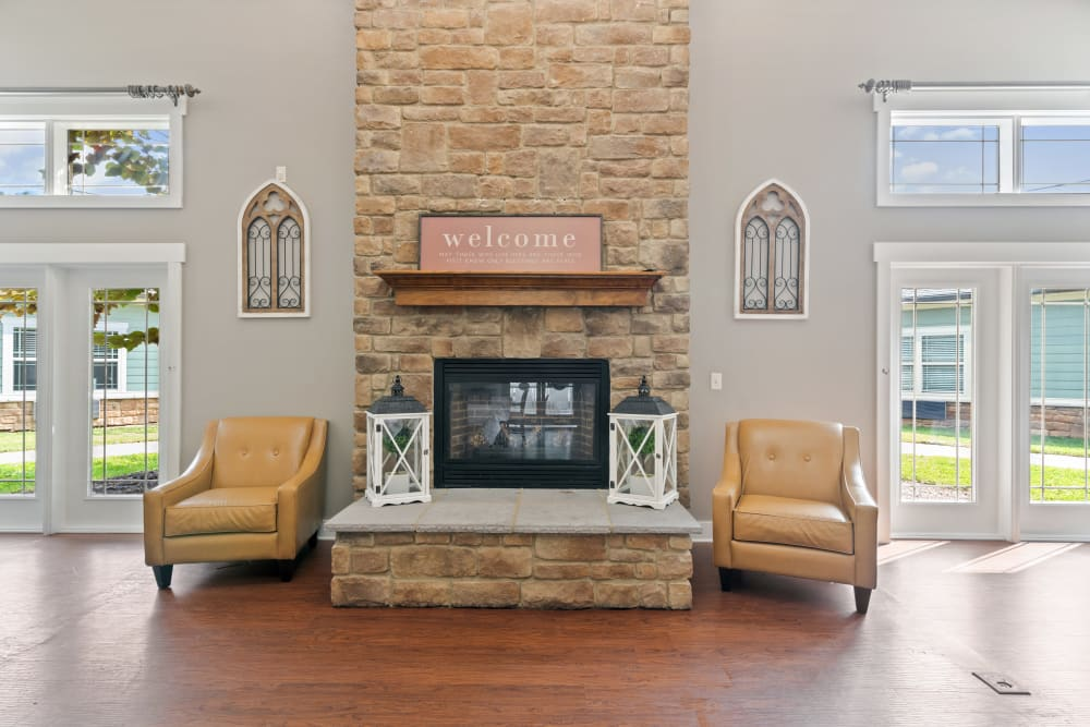 Lounge with a fireplace at Truewood by Merrill, Powell in Powell, TN