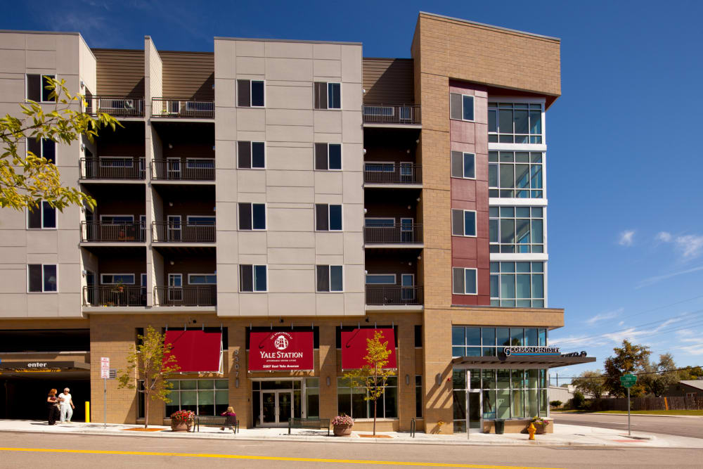Exterior shot of at Yale Station Apartments in Denver, Colorado