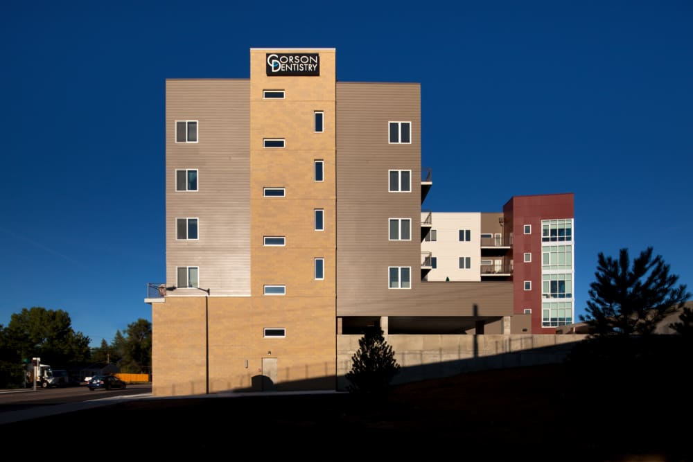Exterior view at Yale Station Apartments in Denver, Colorado