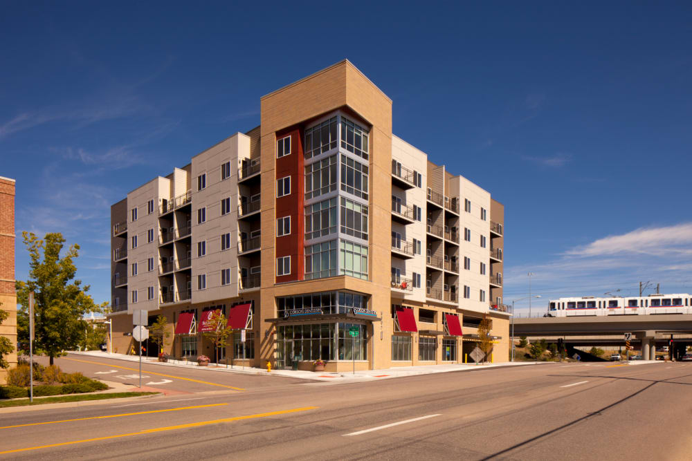 Exterior view of building at Yale Station Apartments in Denver, Colorado