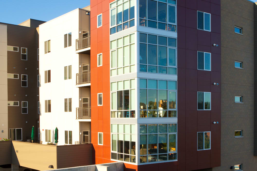 Beautiful glass windows at Yale Station Apartments in Denver, Colorado
