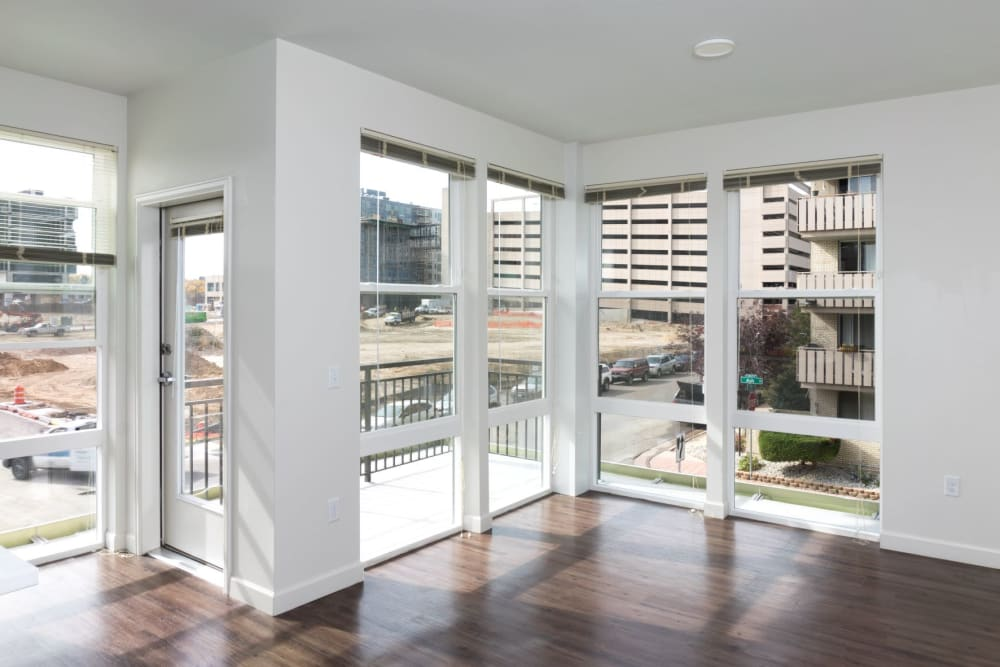 Beautiful model apartment with large glass windows at Ash Street Apartments in Denver, Colorado