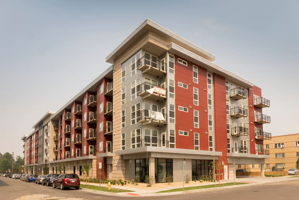Exterior view of the building at Ash Street Apartments in Denver, Colorado