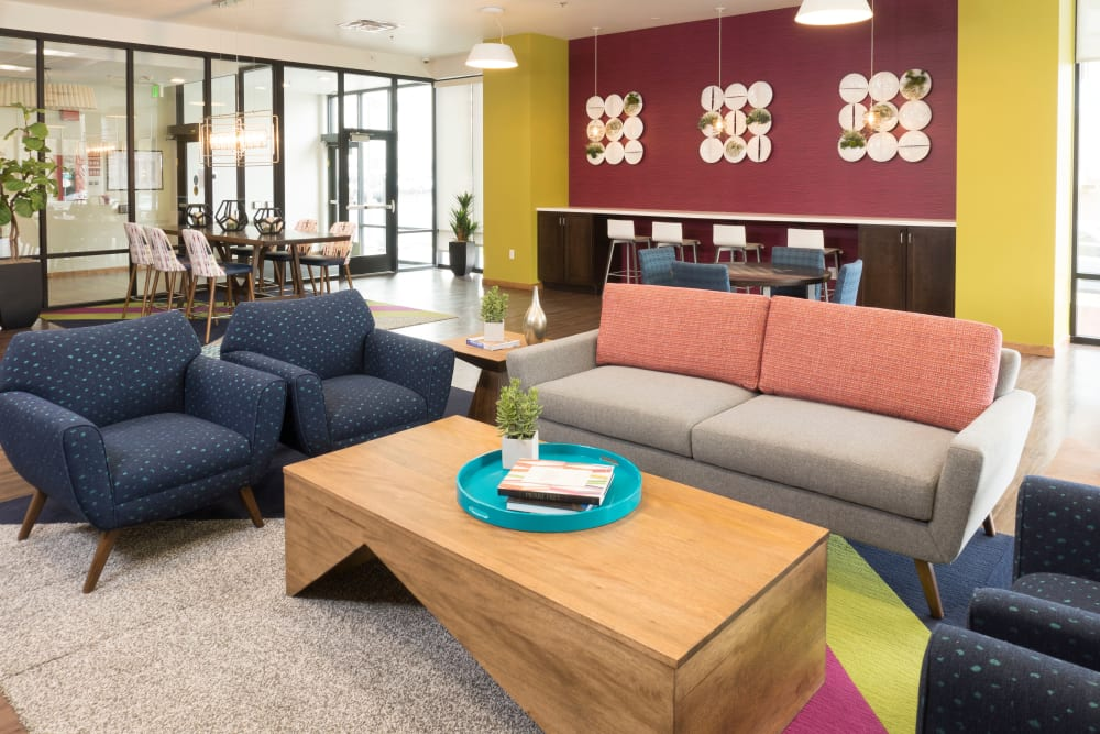 Clubhouse lounge seating at Ash Street Apartments in Denver, Colorado