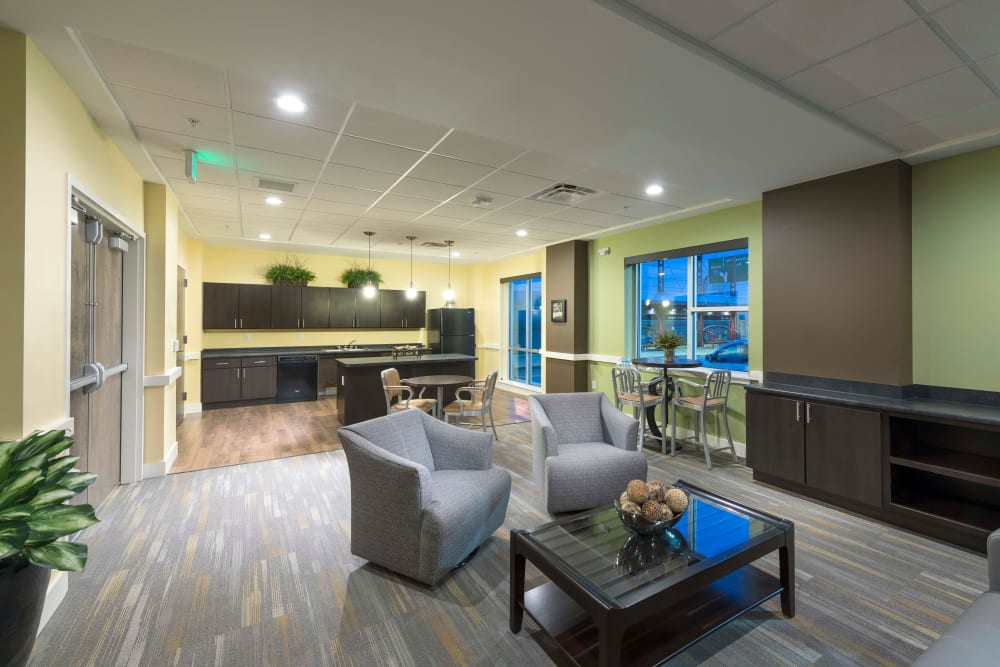 Interior view of the clubhouse at University Station Apartments in Denver, Colorado