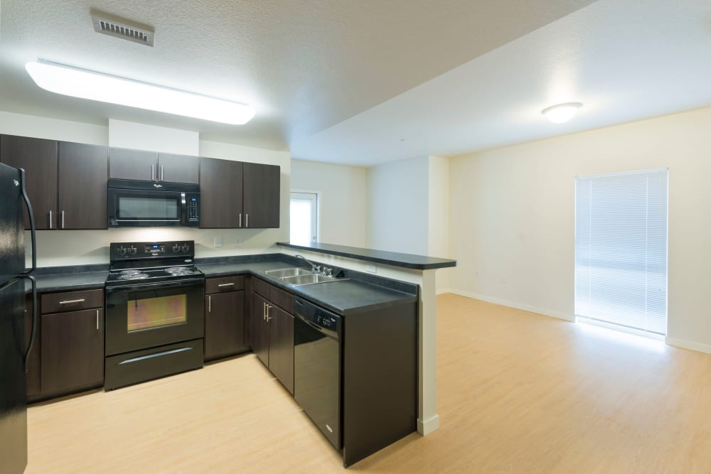 Model kitchen at University Station Apartments in Denver, Colorado