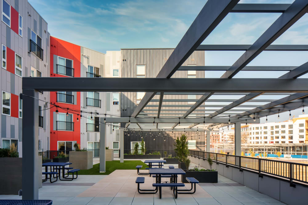 Beautiful shot of outside lounge area at Eaton Street Apartments in Westminster, Colorado