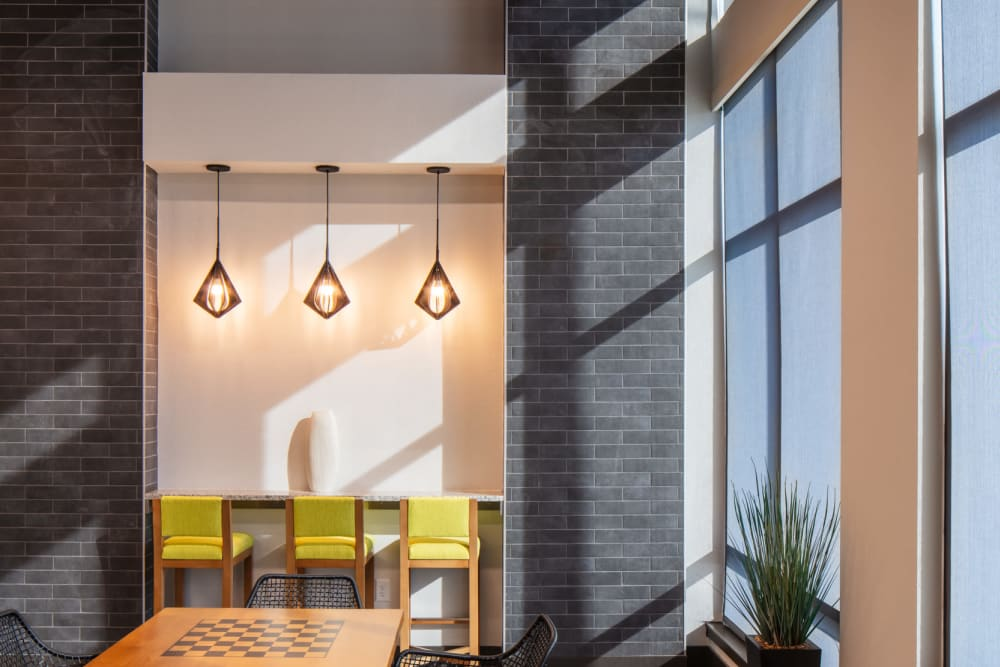 Seating with beautiful modern touches at Eaton Street Apartments in Westminster, Colorado