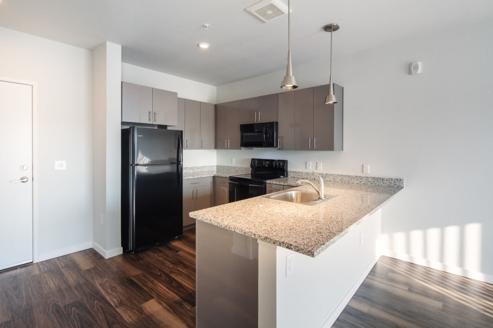 Model kitchen in apartment at Eaton Street Apartments in Westminster, Colorado
