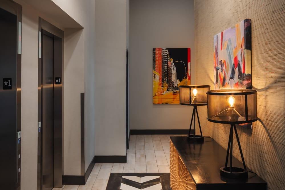 Hallway and elevators at Eaton Street Apartments in Westminster, Colorado