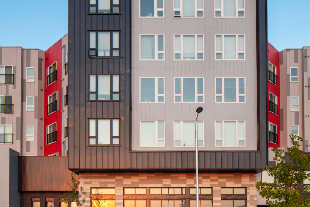 Beautiful shot of glass windows at Eaton Street Apartments in Westminster, Colorado