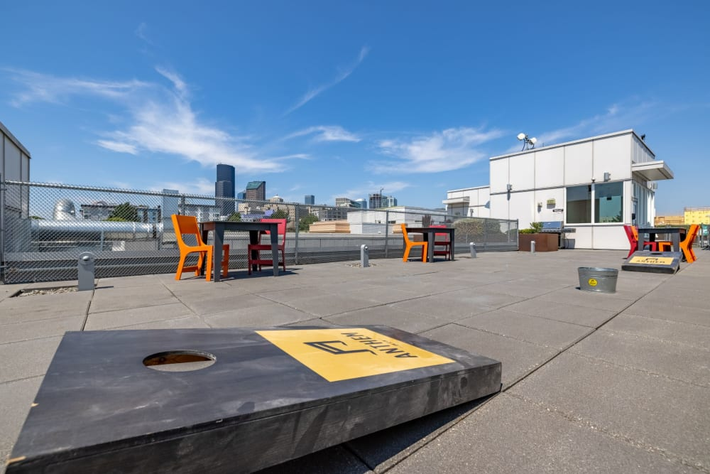 Corn hole on rooftop at Anthem on 12th in Seattle, Washington