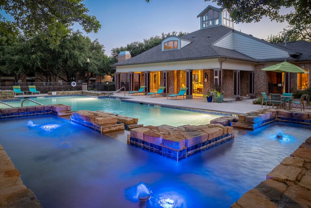 Pool with blue underwater lights at Brooks on Preston in Plano, Texas