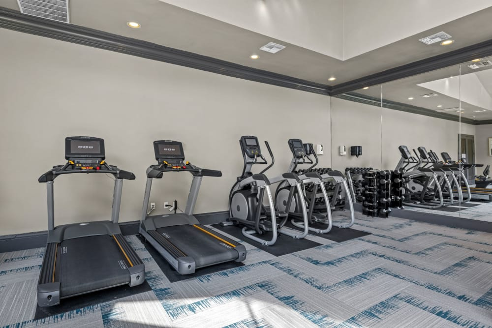 Cardio machines in the fitness center at Brooks on Preston in Plano, Texas