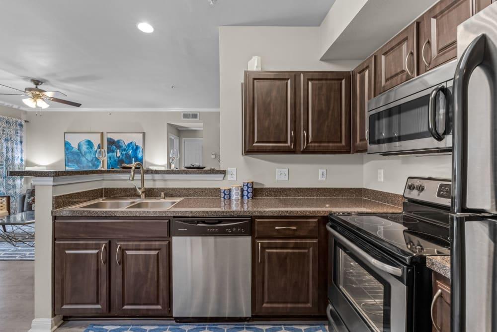 Dark colored cabinets at Brooks on Preston in Plano, Texas