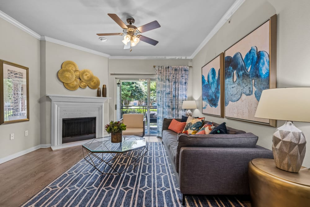 Bright living room with large windows at Brooks on Preston in Plano, Texas