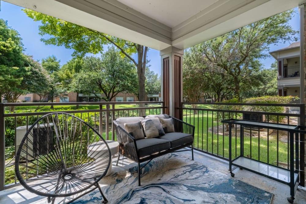 Private patio at Brooks on Preston in Plano, Texas