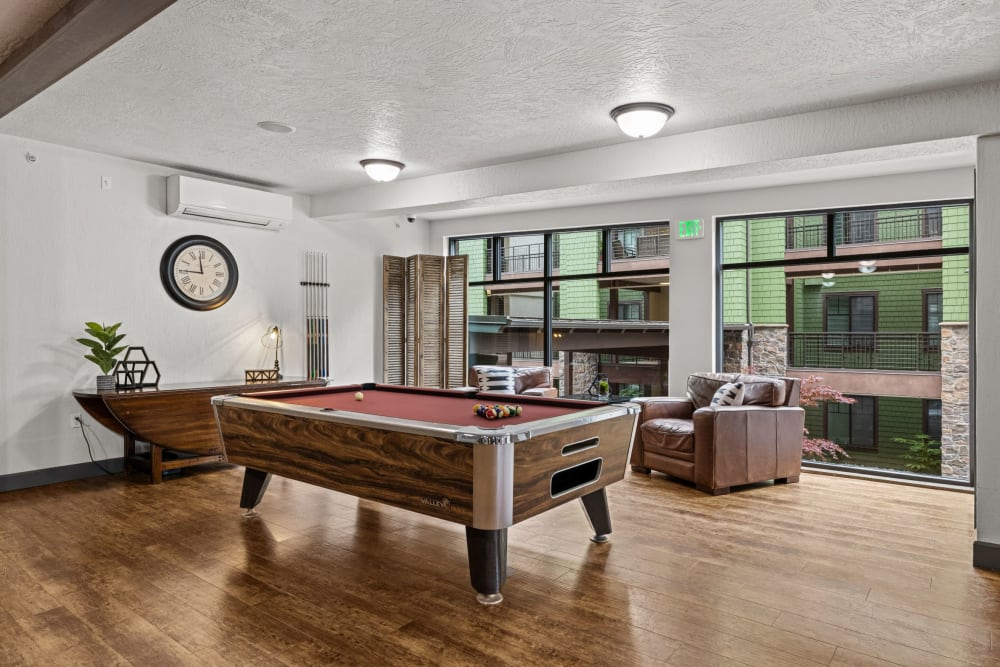 Pool table at Copperline at Point Ruston in Tacoma, Washington