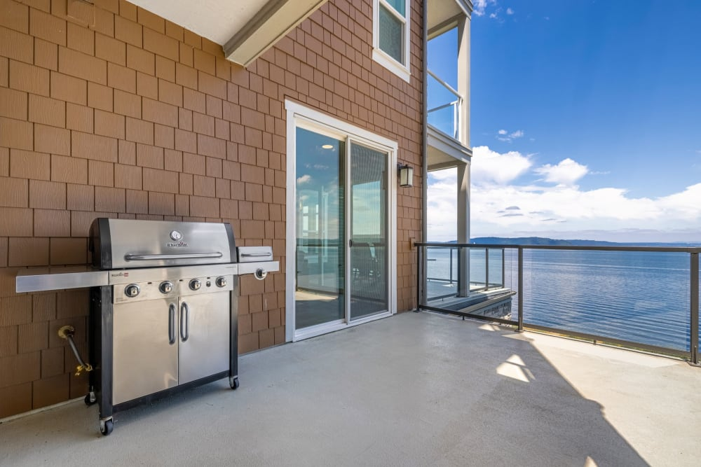 Grill on a balcony at Copperline at Point Ruston in Tacoma, Washington