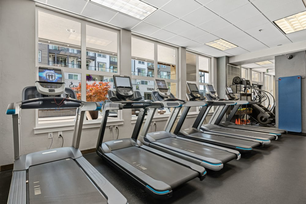 Treadmills in the fitness center at Copperline at Point Ruston in Tacoma, Washington