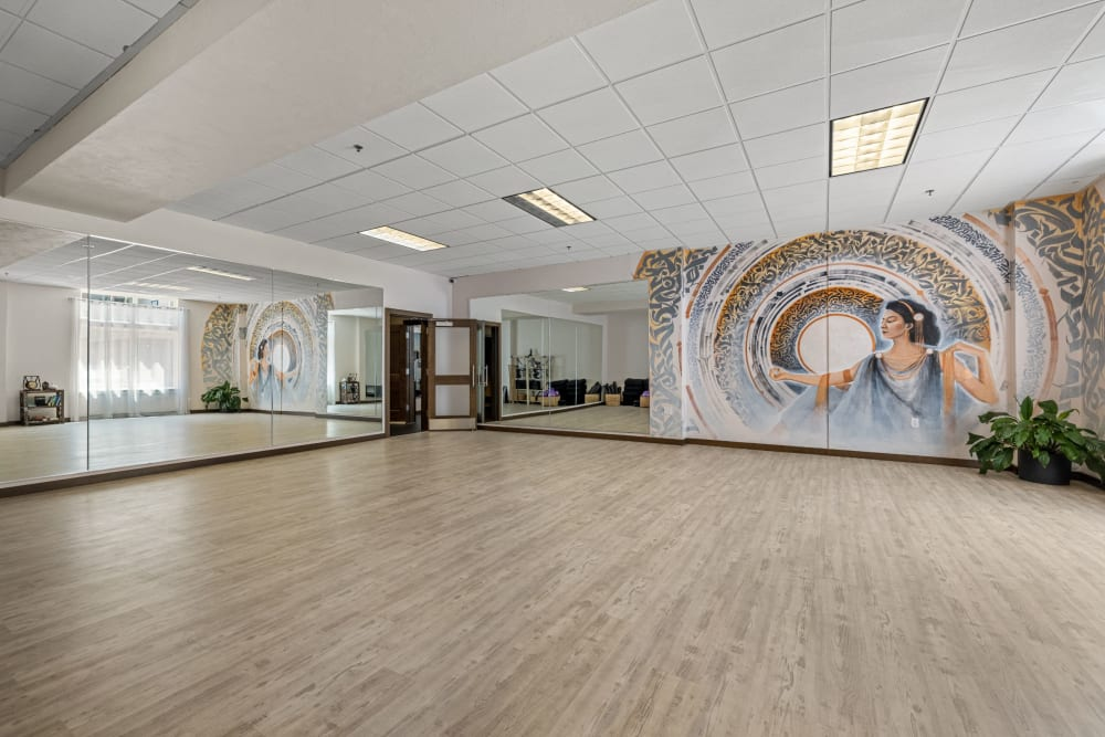 Multi purpose room with mirrors at Copperline at Point Ruston in Tacoma, Washington