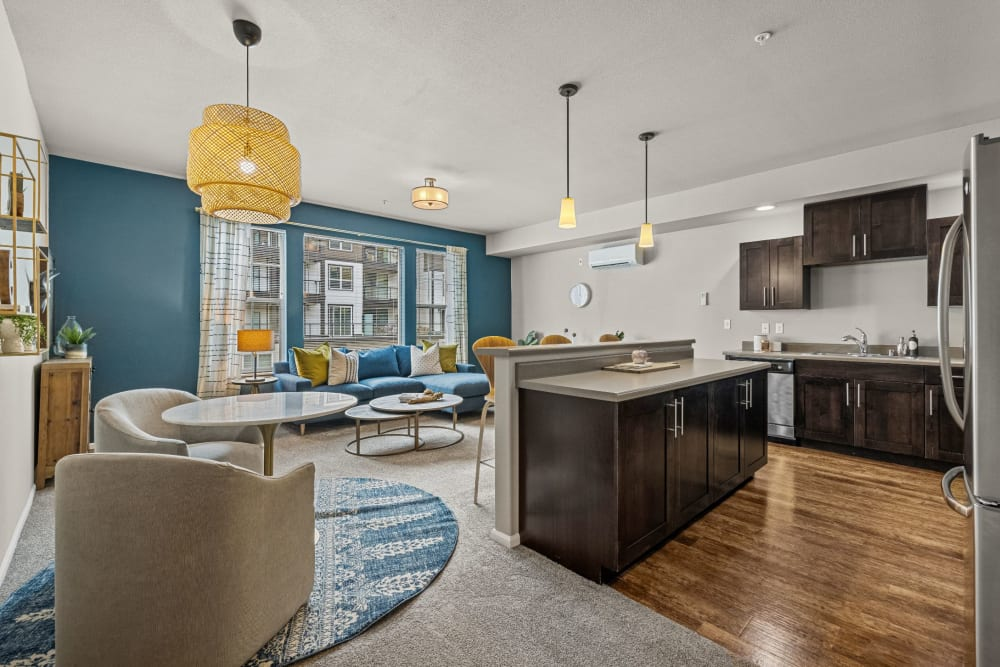 Spacious living area and kitchen at Copperline at Point Ruston in Tacoma, Washington