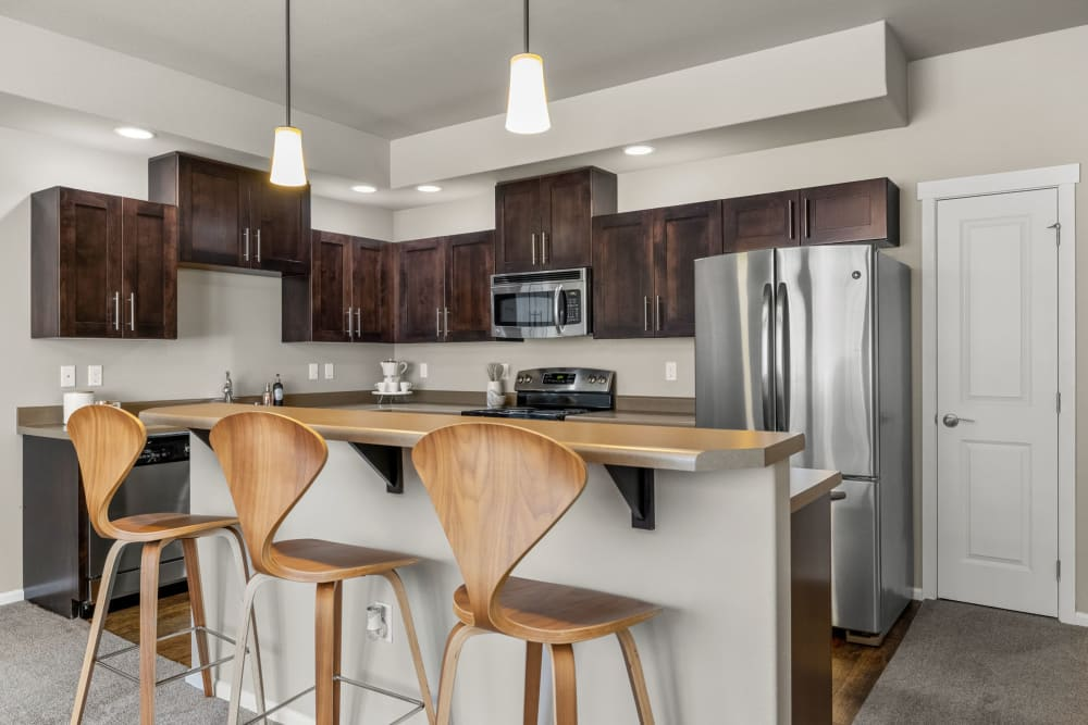 Breakfast bar in kitchen at Copperline at Point Ruston in Tacoma, Washington