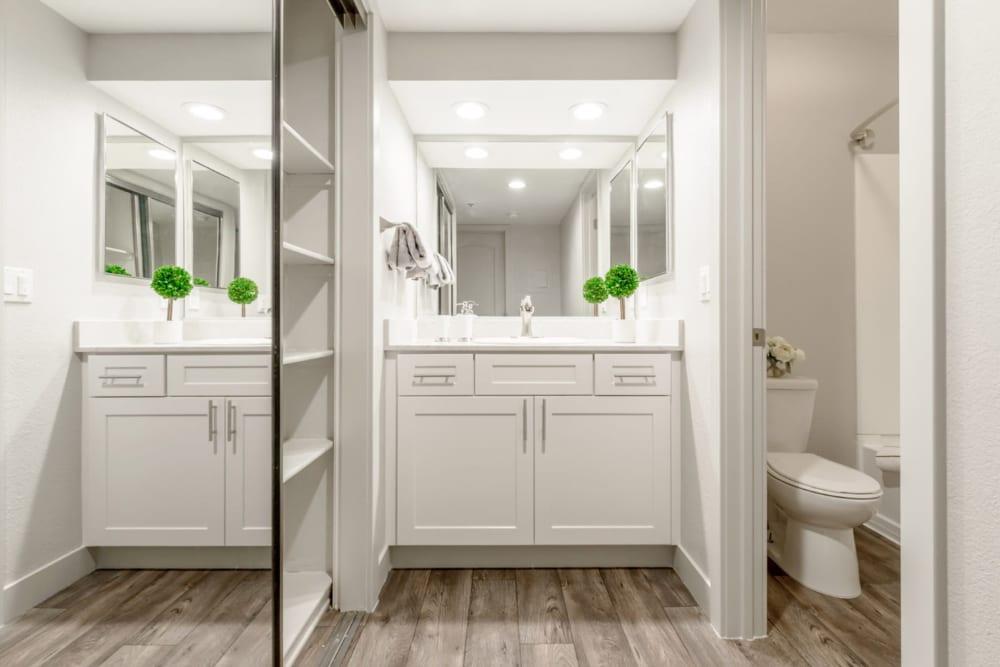 Bright and vibrant bathroom in a gorgeous model home at Sendero Huntington Beach in Huntington Beach, California
