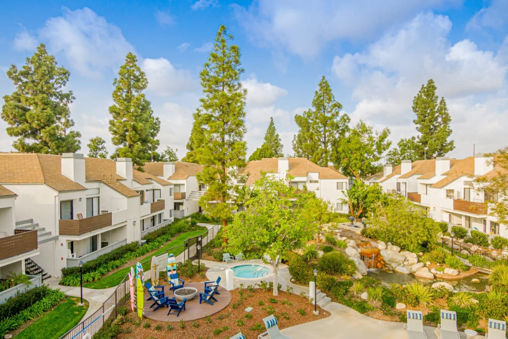 Incredible view from above the building of all the pretty trees at Sendero Huntington Beach in Huntington Beach, California