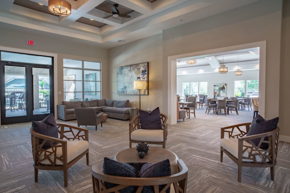 Room with many chairs at Sunstone Village in Denton, Texas