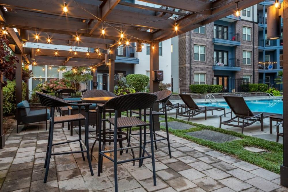 outdoor seating near the pool at Marq Eight in Atlanta, Georgia