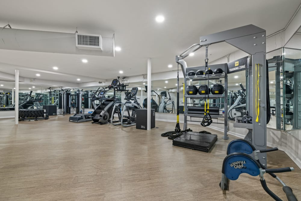 spacious fitness center at Marq on Ponce in Atlanta, Georgia