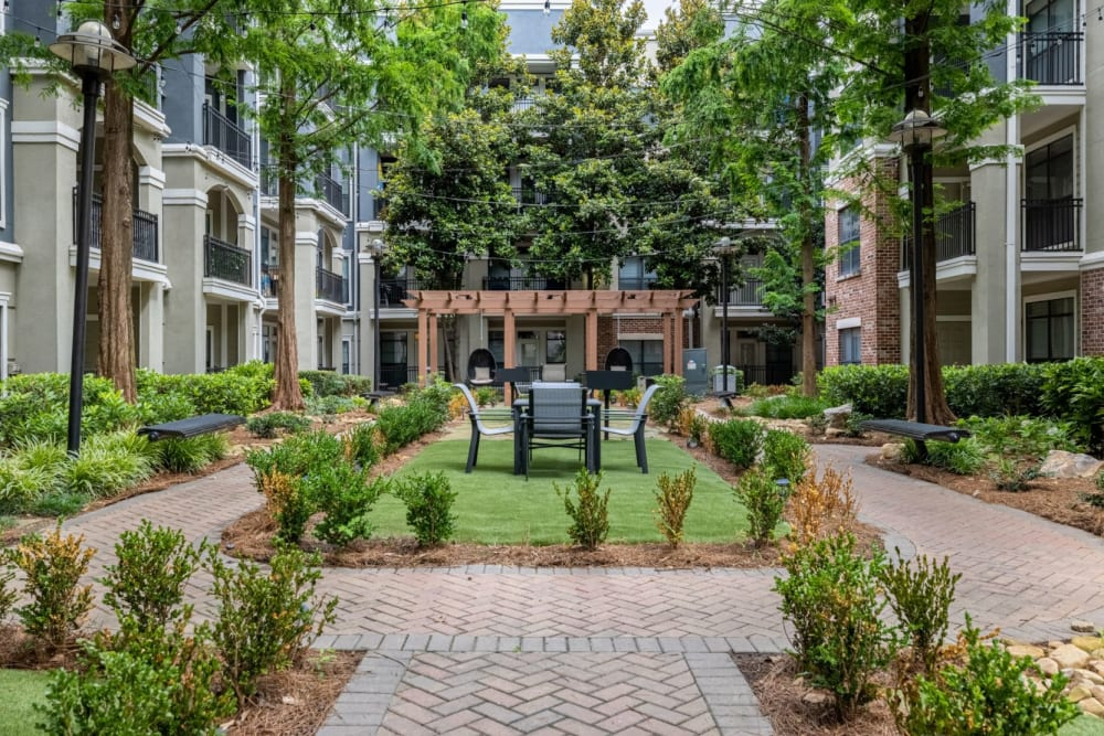 Landscaped courtyard at Marquis Midtown District in Atlanta, Georgia