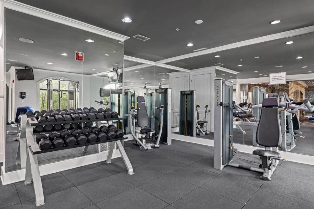 free weights in the fitness center at Marquis Midtown District in Atlanta, Georgia