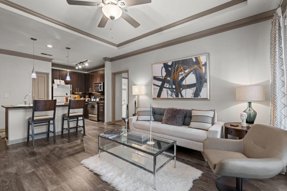 model living room at Marquis Midtown District in Atlanta, Georgia