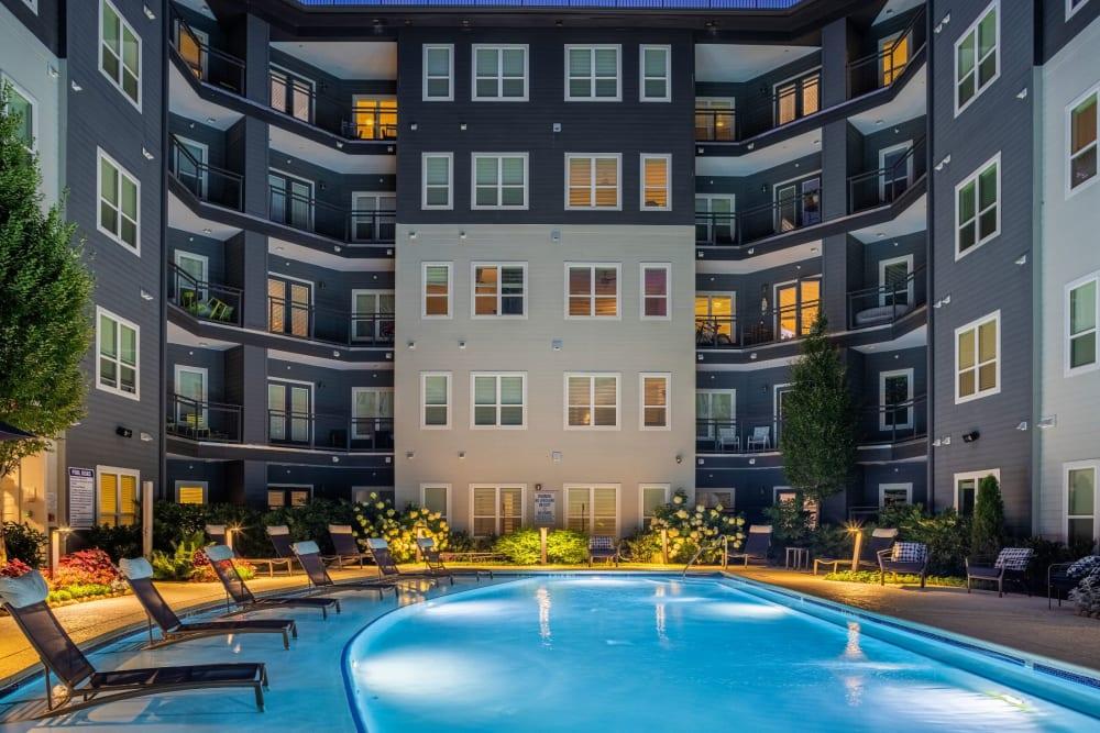 pool at dusk at Skyline West in Atlanta, Georgia