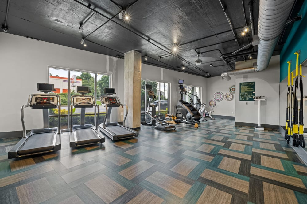 treadmills in the fitness center at Skyline West in Atlanta, Georgia