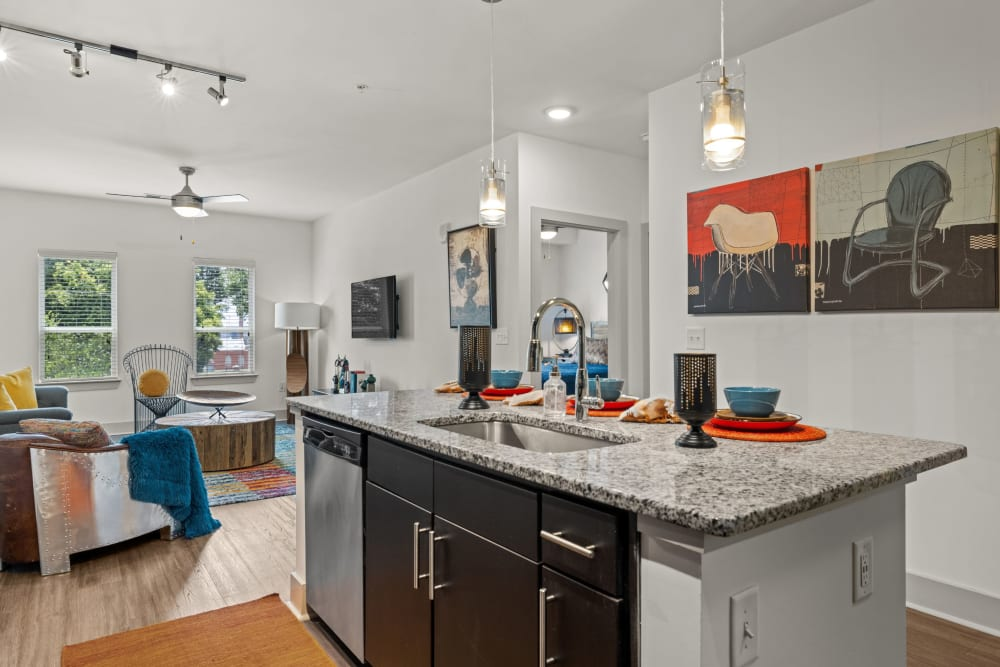 kitchen with granite style counters at Skyline West in Atlanta, Georgia