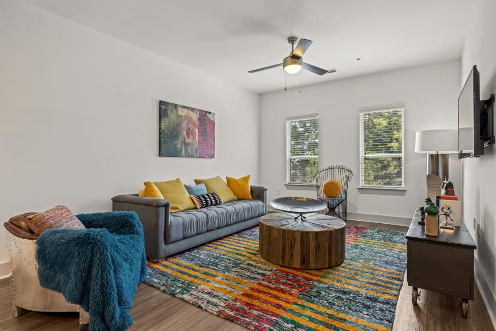 bright living room at Skyline West in Atlanta, Georgia