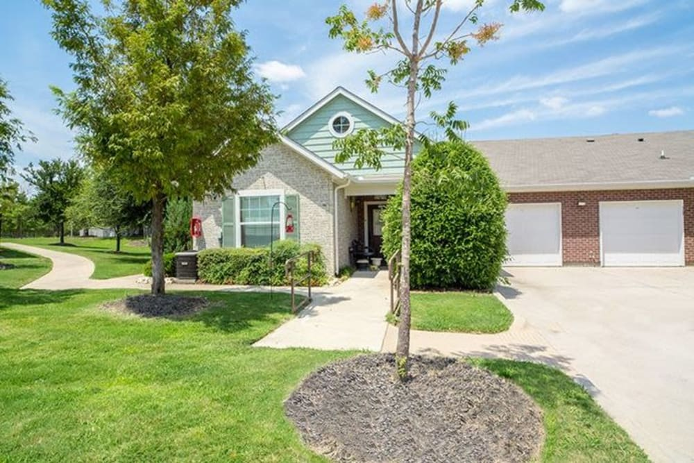 Connected homes with a shared driveway at Sunstone Village in Denton, Texas