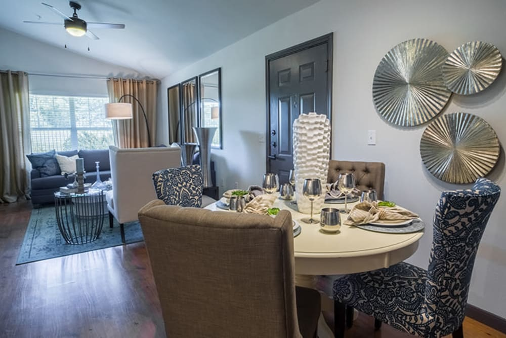 Furnished living room at Sunstone Village in Denton, Texas