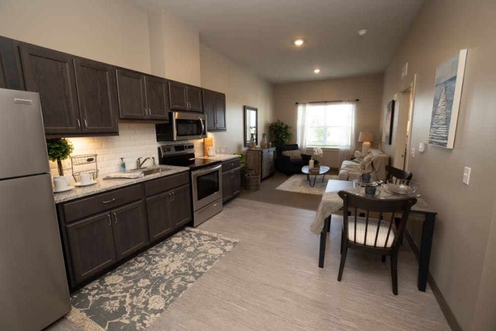 kitchen and living area at The Village at Orchard Grove in Romeo, Michigan