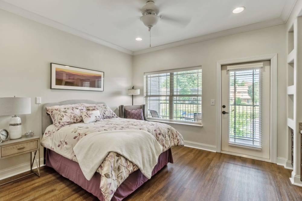 bedroom with a balcony at Truewood by Merrill, Knoxville in Knoxville, Tennessee