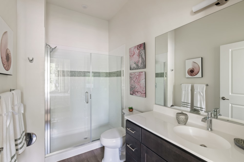 A beautiful, clean bathroom at The Mark Parsippany in Parsippany, New Jersey