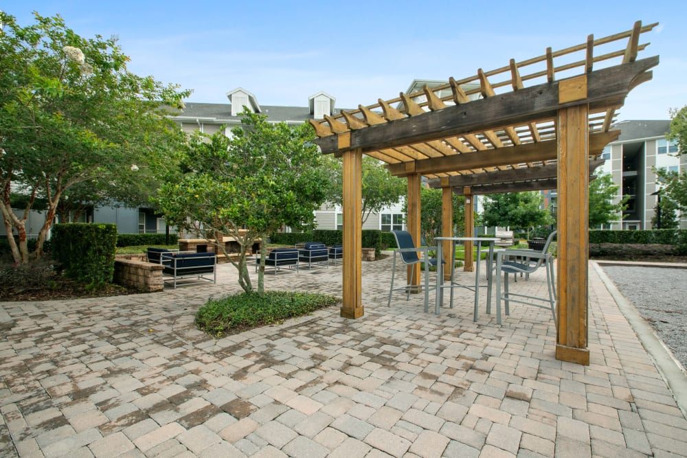 An outdoor patio at Linden Crossroads in Orlando, Florida