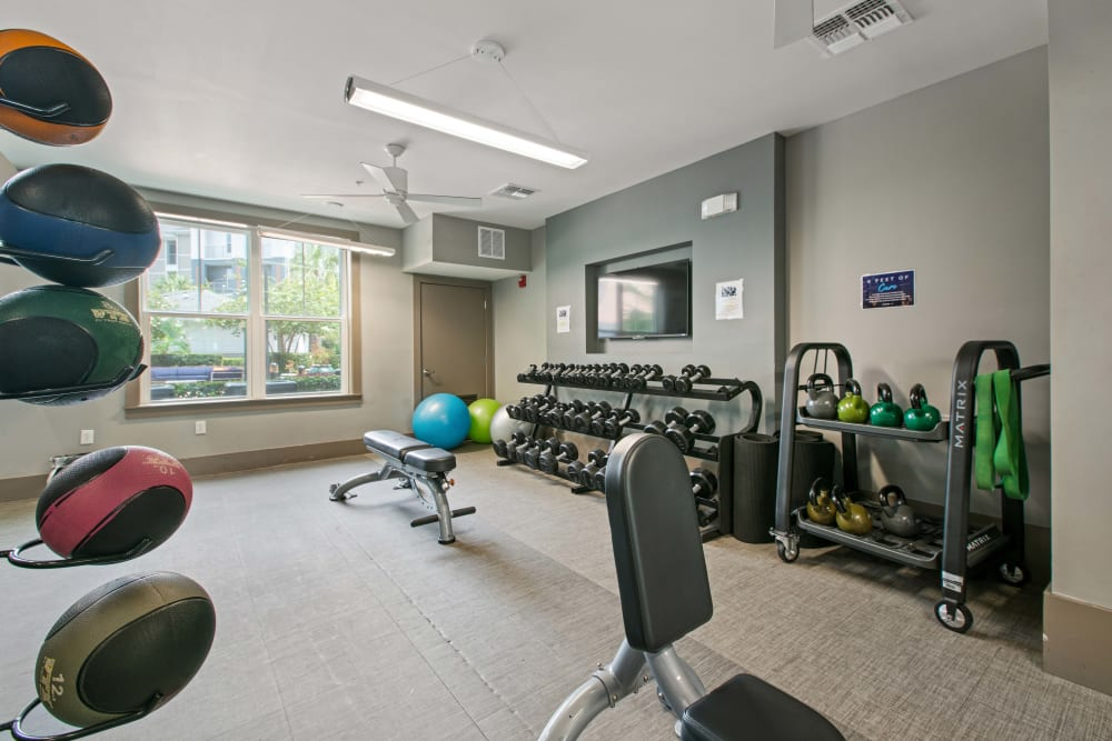 The weight room at Linden Crossroads in Orlando, Florida