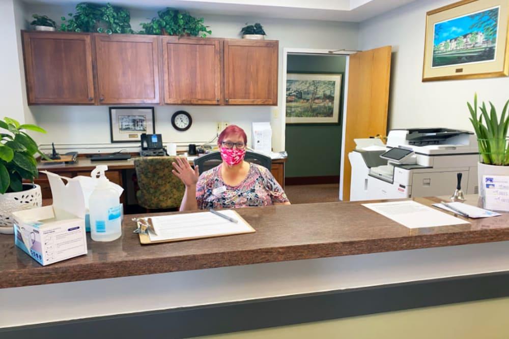 front desk at The Iris Senior Living in Great Falls, Montana