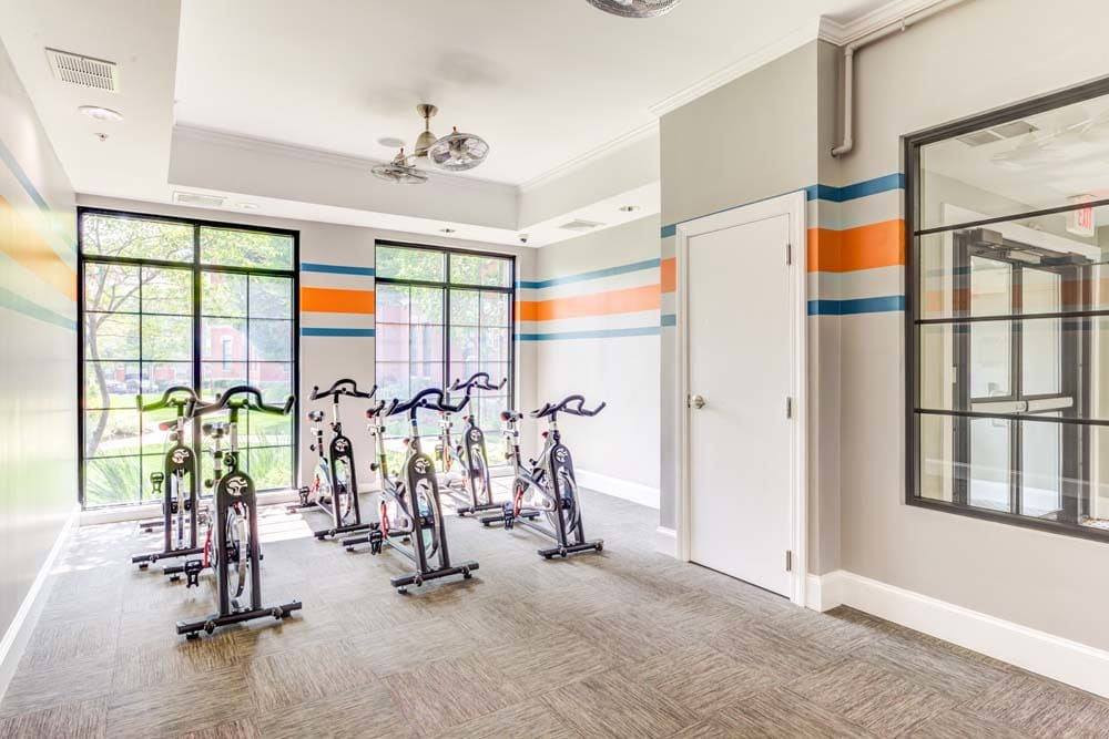 cycling room at Bradlee Danvers in Danvers, Massachusetts