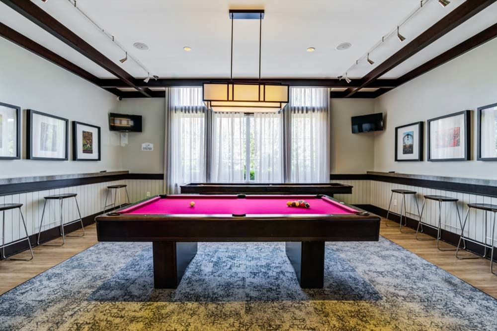 Billiards table inside Clubhouse at The Grove Somerset in Somerset, New Jersey