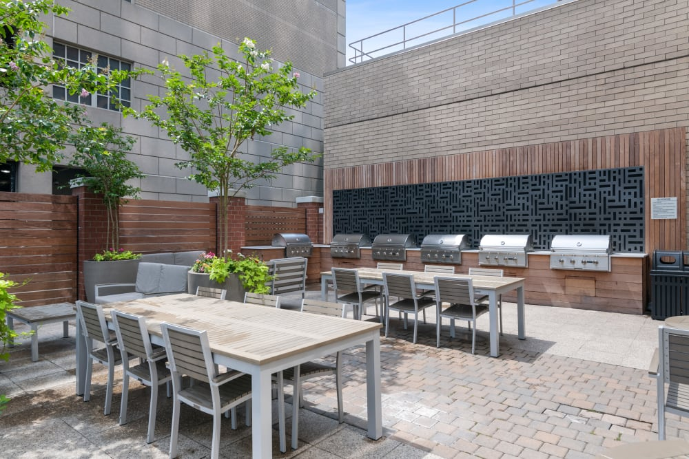Outdoor barbecue area at Skyline New Rochelle
